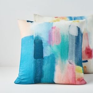 West Elm   (2) Modern Watercolor Pillow Covers